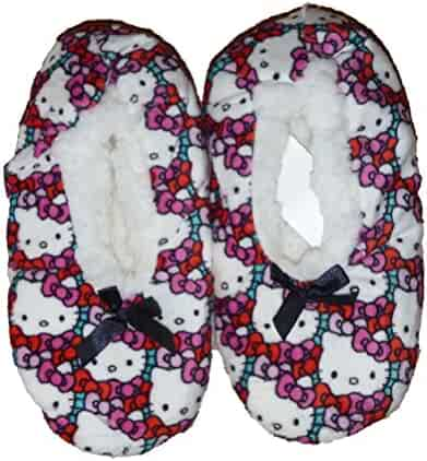 9fda8f7c7 High Point Girls Slipper Socks Hello Kitty Fuzzy Faux Fur Babba Slip On (M/