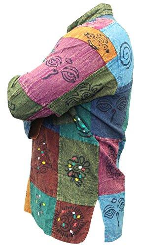 Shopoholic, camicia Kurtha, da uomo, effetto slavato, multicolore, patchwork, stile hippie