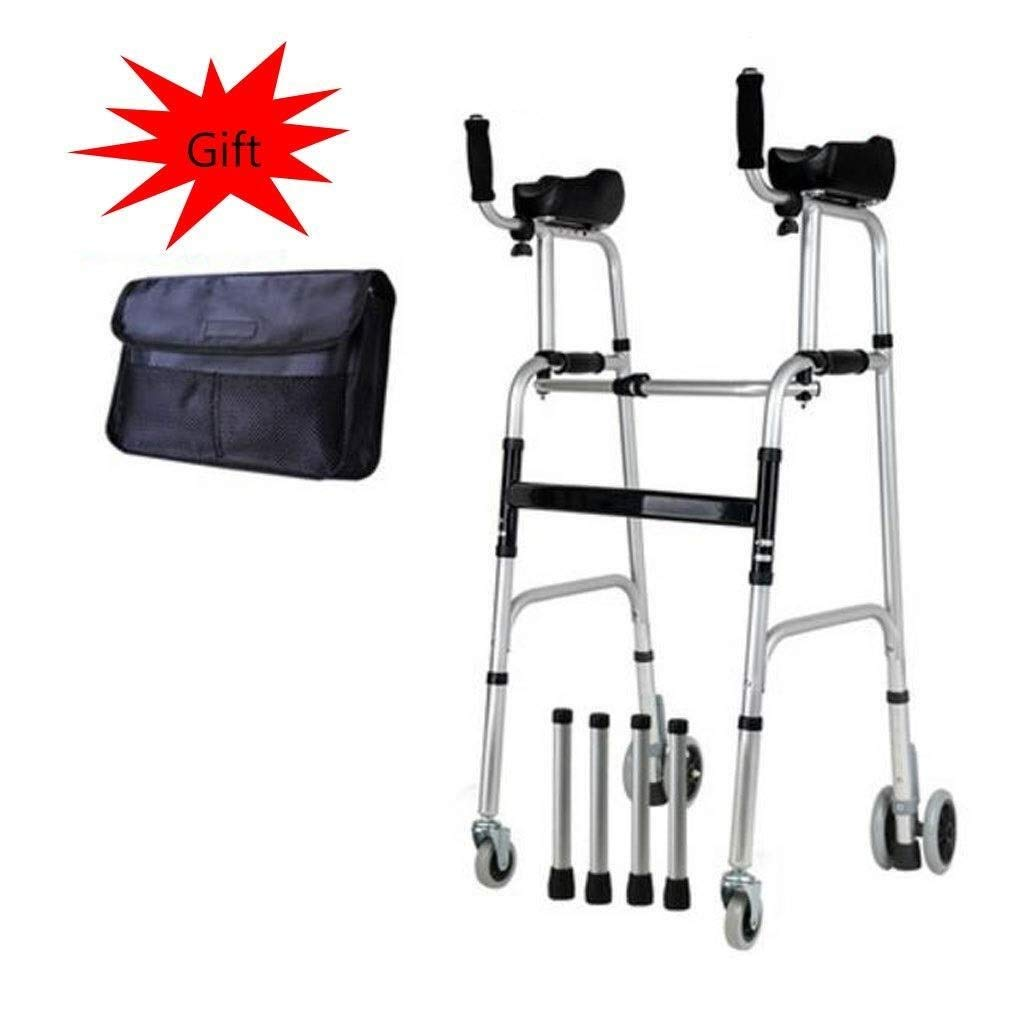 Folding Lightweight Aluminium Walking Frame with Wheels, Ergonomic Handle and Handbag Walking Mobility Aid Auxiliary Walking Safety Walker (Color : with Brake)