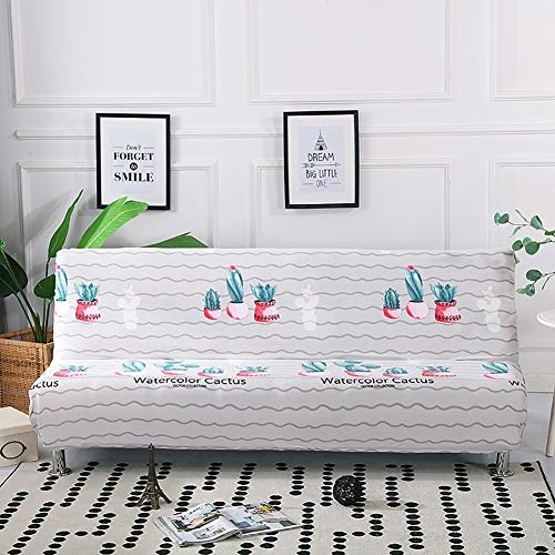 TRDF Armless Futon Bed Cover Polyester Thicker Plush Stretch Full Folding Sofa Protector Modern Featured Slipcover 160-190CM