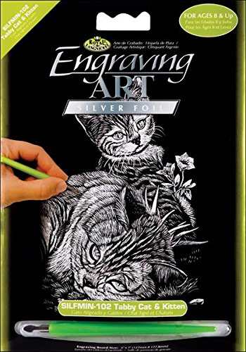 ROYAL BRUSH SILMIN-102 Tabby Cat and Kitten Mini Silver Foil Engraving Art Kit, 5 x 7