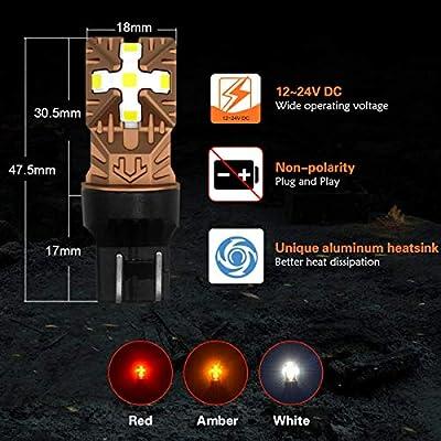 LASFIT 7443 7440 7444 LED Reverse Backup Light Bulb W21W / WY21W/992, 1200lm/ set White Light (2pcs): Automotive