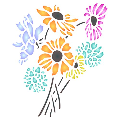 - Daisy Flower Stencil - 6.5 x 8 inch (M) - Reusable Flora Bouquet Bunch Wall Stencils for Painting - Use on Paper Projects Scrapbook Journal Walls Floors Fabric Furniture Glass Wood etc.