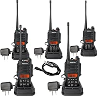 Retevis RT6 IP67 Waterproof and Dust Proof Dual band 2 way radio VHF/UHF 136-174Mhz/400-520Mhz 5/3/1W Ham radio with Waterproof Earpiece (5 Pack) and Programming Cable (1 Pack)