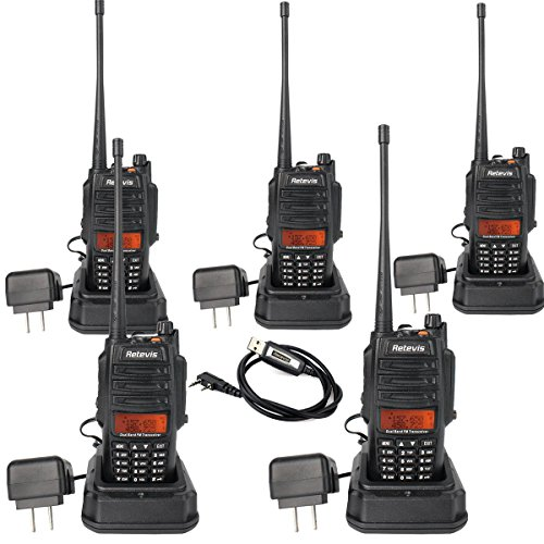 Retevis RT6 2 Way Radio IP67 Waterproof and Dust Proof Dual Band VHF/UHF 136-174Mhz/400-520Mhz 5/3/1W Ham Radio with Waterproof Earpiece (5 Pack) and Programming Cable (1 Pack) by Retevis (Image #9)