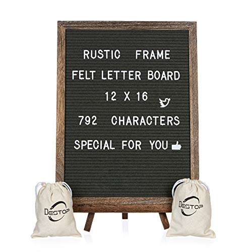 Felt Letter Board with Rustic Vintage Frame and Stand 12x16 inch, Dark Grey Changeable Letter and Message Board Includes 792 Letters, Numbers and Symbols, Hook to Hang, 2 Canvas Bags (Tv Message Board)