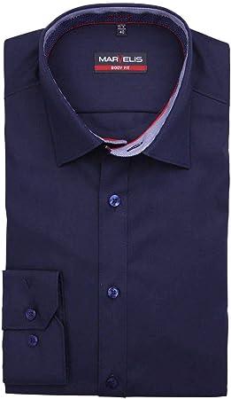 Marvelis - Camisa, Manga Larga 64 cm, Body Fit, Azul Noche, fácil de Planchar, Cuello New York Kent, 100% algodón, Cuello enlucido