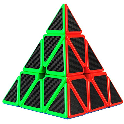 Aitey Pyramid Speed Cube, Carbon Fiber Sticker Triangle Magic Cube Twisty Puzzle Christmas Gifts for Kids free shipping