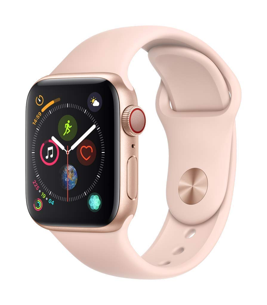 Apple Watch Series 4 (GPS + Cellular) (Renewed) (Pink Sport, 40mm) by Apple