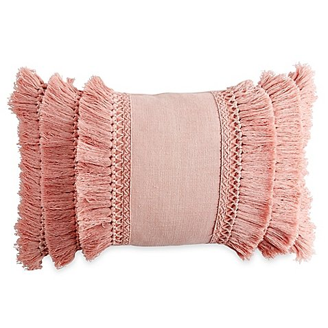 Chenille Lattice Fringe Oblong Throw Pillow in Blush Pink Fringe Pillow
