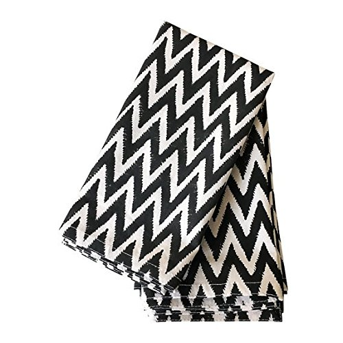 Black Cloth Napkins, 20x20 inch, Chevron Cloth Napkins, 100% Cotton, Black and White (Chevron Napkins Cloth)