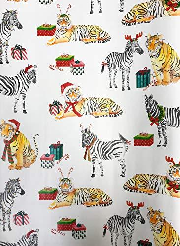 - Festive Holiday Safari Animals Zebra & Tiger Christmas Gift Present Wrapping Paper