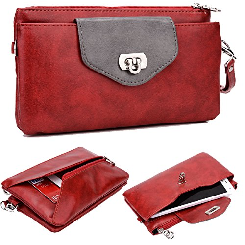 Clutch Notebook Carrying Case - NuVur Extra Large Women's Smartphone Wallet Clutch Wristlet ::Card slots:: Fits: Samsung Galaxy J7 Prime Max, A8+ 2018, S8+ S8 Active, S7+, S7 Active, A7 C7 J7 (2017), C7 C9 Pro|Red