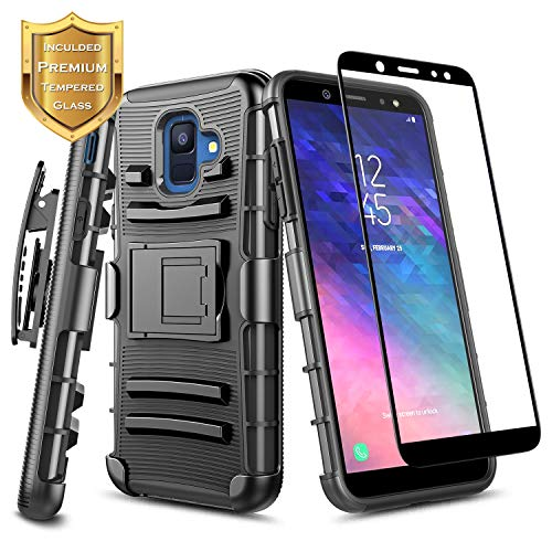 Galaxy A6 Case with Tempered Glass Screen Protector (Full Coverage), NageBee Belt Clip Holster Heavy Duty Kickstand Shockproof Combo Rugged Armor Durable Case for Samsung Galaxy A6 (2018) -Black