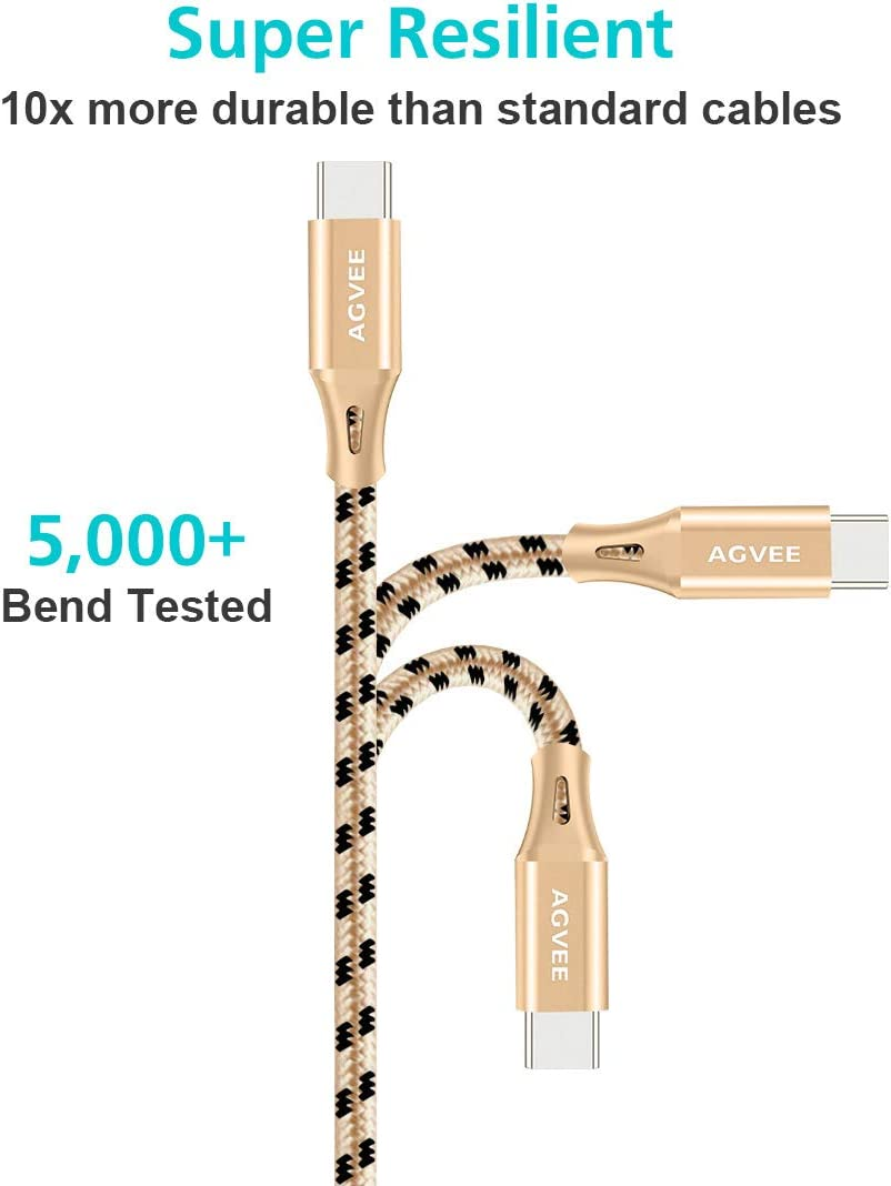 Pixel 3 3XL 3 Pack 6ft Seamless USBC Tip AGVEE 3A Fast USB-C Charger Cable Gold Braided Type-C Charging Cord for Samsung Galaxy S10 S9 S 8 Note 9 8 A10e A20 A20e LG V20 V30