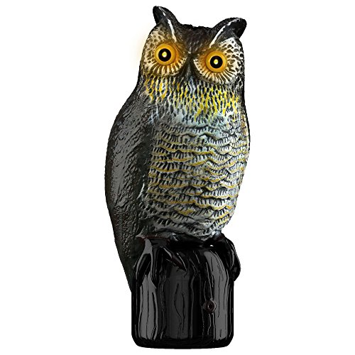 [Realistic Owl Scarecrow – Motion Activated Solar Powered Owl Decoy w/ Flashing Eyes & Scary Sound – Garden Owl Animal Repellent Deters Birds, Pests &] (Scary Scarecrow)