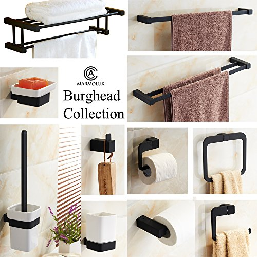 MARMOLUX ACC Toilet Paper Holder Stainless Steel Non-Corrosive Wall Fixture from the Burghead Collection of Bathroom Accessories,Black Finish chic