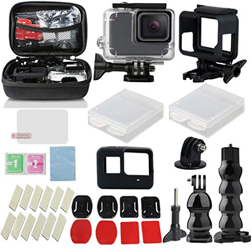 OUBAO 32-in-1 for GoPro Hero7 White/Silver Accessories Set Kit aterproof Case Diving Protective Housing Shell 40m,Hand Rope,Pedestal,Adapter,Screw ()