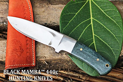 (BLACK MAMBA KNIVES BMK-144 Green Fish 4.5 Inches Blade 440c Stainless Steel Hunting Knife Mirror Polished)
