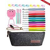 11 Sizes Crochet Hook Set,Ergonomic Grip Crochet Hooks Kit,With Crochet Hook Case Organizer,Comfort Grip Crochet NeedlesPlastic Sewing Yarn Needles,Stitch Markers,Row Counter & More!