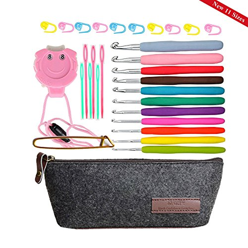 11 Sizes Crochet Hook Set,Ergonomic Grip Crochet Hooks Kit,With Crochet Hook Case Organizer,Comfort Grip Crochet NeedlesPlastic Sewing Yarn Needles,Stitch Markers,Row Counter & More! (Rubber Handle Crochet Hooks)