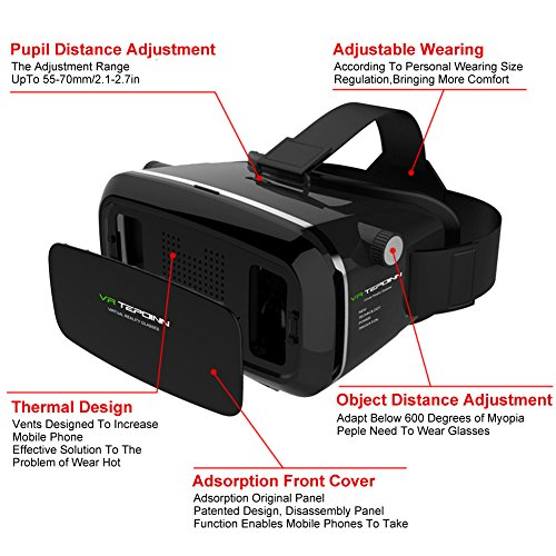 VR Headset TEPOINN Virtual Reality Headset for iPhoneX/ 8/ 8plus/7/7plus/6/6plus/6s/5, Samsung, LG & All Android Smartphone With Magnetic Front Cover, Adjust Strap by tepoinn (Image #2)