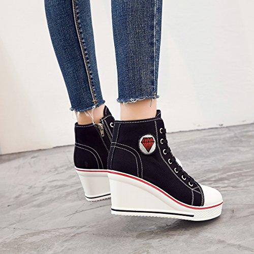 Padgene Baskets Mode Compensées Montante Sneakers Tennis Chaussures Casuel Toile Femme Noir
