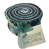 Circle Play Pinwheel 2.5-inch Quilting Strips Jelly Roll Fabric by Ann Lauer of Grizzy Gulch Gallery for Benartex Studio.