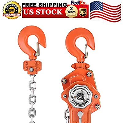 Hoists, 1.5T 3000LBS Manual Lever Block Chain Hoist Ratchet Come Along Puller Lifter Lever Hoist with Hook Hand Winches Electric Hand Chain Hoists, USA STOCK