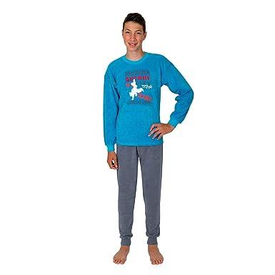 4c82becc20 Kinder Schlafanzug Pyjama Kinderschlafanzug Avenue Farbe: Petrol-blau, Größe  116-176: Amazon.de: Bekleidung