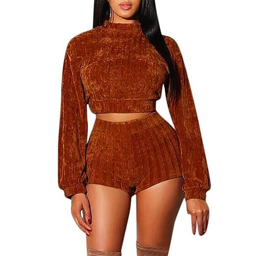 3fd1cf16d5 Women Casual Velvet Hoodie Tops Solid O-Neck Long Sleeve Sweatshirt Shorts  2 Pieces Tracksuits Sets Loungewear (Black