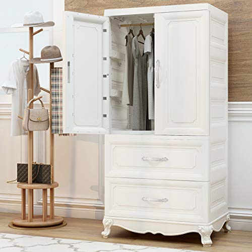 Nafenai Armoire Wardrobe Closet, 2-Door Cabinet Armoire with Drawers and Clothing Hanging Rod in White (Wardrobe White Armoire)