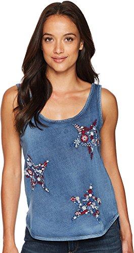Lucky Brand Women's Star Embroidered Tank Top, Indigo, (Ladies Lucky Stars)