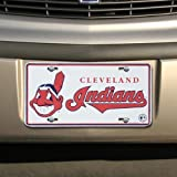 MLB Cleveland Indians White Metal License Plate