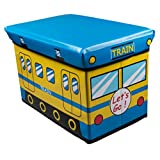 Blue and Yellow Train Collapsible Toy Storage Box and Closet Organizer for Kids - Cushion Top