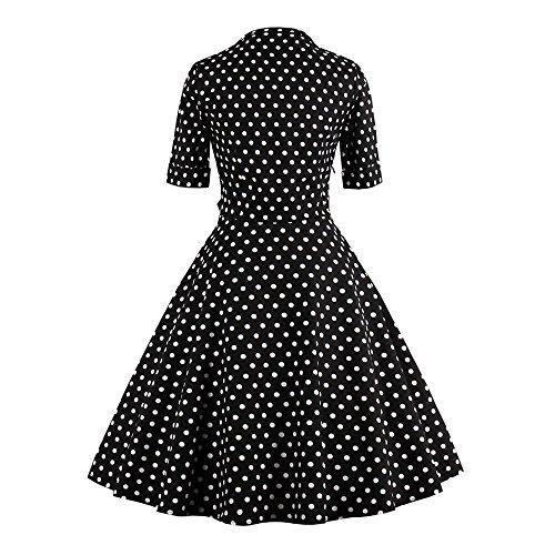 Zaful Robe Vintage Rétro années 1950 's Style Audrey Hepburn Rockabilly Swing Manches 3/4 Robe de Soirée Cocktail Sexy Grande Taille Elégant - Noir pois