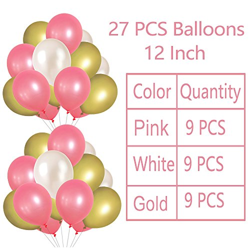 Litaus Pink and Gold Birthday Decorations, Party Decorations Supplies, Happy Birthday Banner, Party Balloons, Paper Flowers, Hanging Swirls for Girls Birthday, Birthday Party Supplies