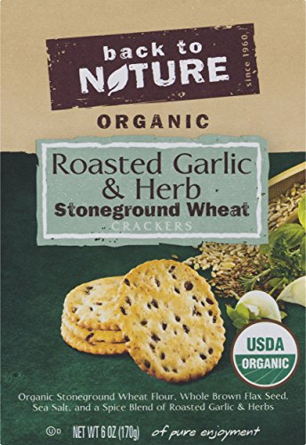 Natures Herbs Garlic (Back to Nature Crackers, Organic Roasted Garlic & Herb Stoneground Wheat, 6 ounce)