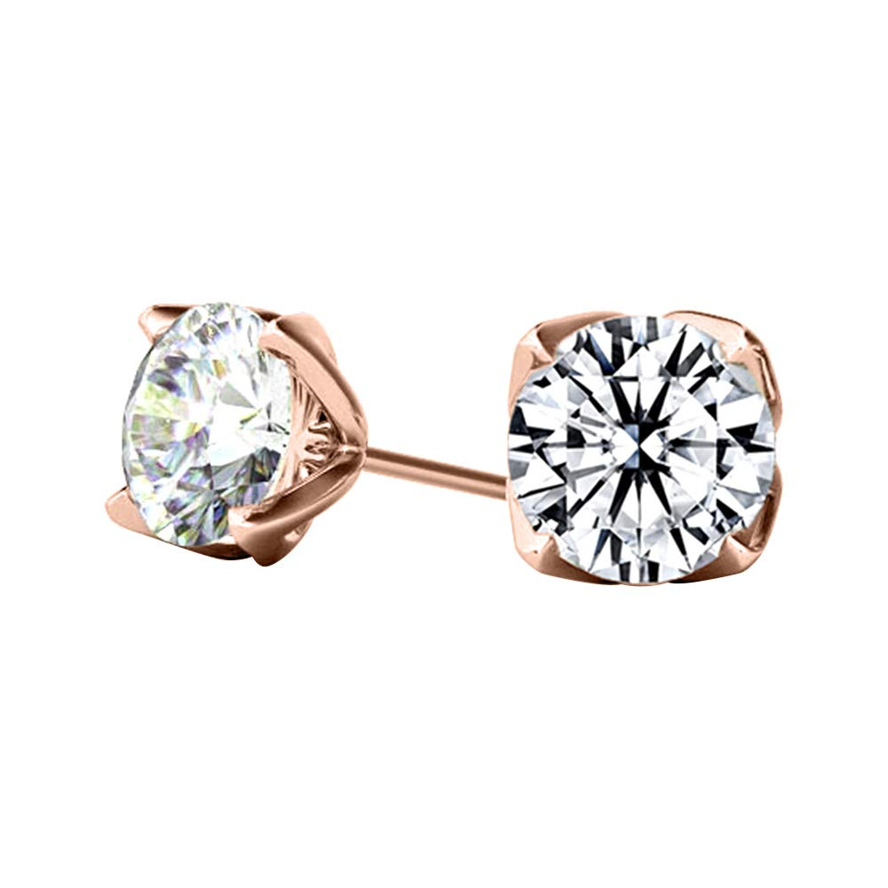 10k Real Rose Gold 4.00 Ct Round Cut Simulated Diamond Solitaire Stud Earrings