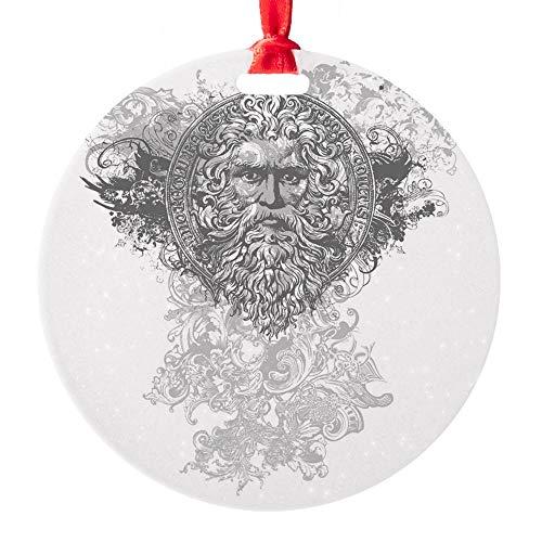 Round Ornament Look Like a Greek God