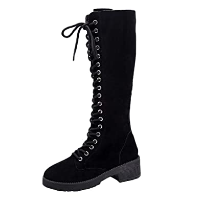 43dce7c7f30 Artistic9 Women Knee High Boot Retro Suede Leather Lace-Up + Zipper Knee  High Boots
