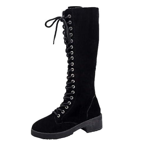 bc264d904ce Susenstone Bottes à Lacets Vintage Femme CompenséEs en Daim Chaussures Moto  Hiver Chaud Hauteur Genoux Plates