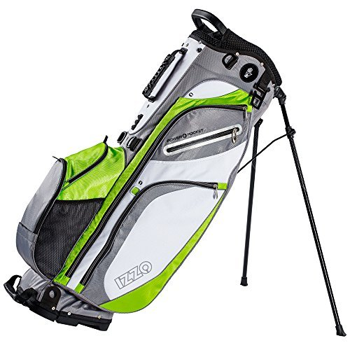 IZZO Golf Versa Riding/Walking Hybrid Green, Grey and White Golf Stand Bag