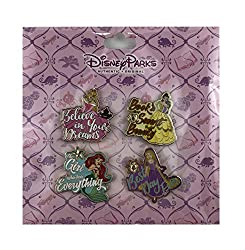 This pin set features four different princesses with quotes. Aurora with her blonde hair and in her pink gown: Believe in Your Dreams in white text. Belle with her long brunette hair in her yellow gown: Book Smart Beauty in red text. Ariel as a merma...