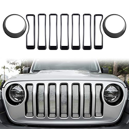 Sunluway Front Grille Trim Inserts Grill Cover & Headlight Turn Light Cover Trim 9 Pcs Black Protection Accessories for 2018 2019 Jeep Wrangler JL JLU Sport/Sports (Best Grill Covers 2019)