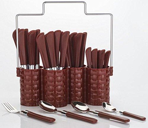 Plantex Trendy Emperor Cutlery Set – Spoon Set – Spoon Stand – 25-Pieces – Brown Price & Reviews