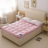 LJ&XJ Thicken Tatami Mattress,Foldable Soft Tatami mat Comfortable Durable Bed Mattress,Non-Slip Floor mat-Pink Full