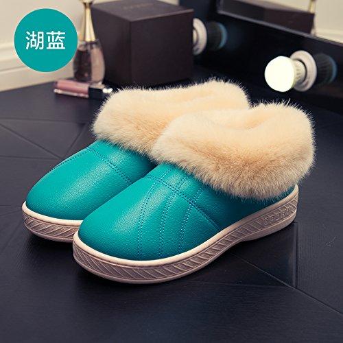 LaxBa Femmes Hommes Chaussures Slipper antiglisse intérieur bleu Lac 34/35