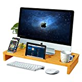 Ucharge Bamboo Monitor Stand Riser - Laptop Desk Shelf - Monitor Riser for Cellphone/TV/Printer/Computer Stand with Storage Organizer for Home Office
