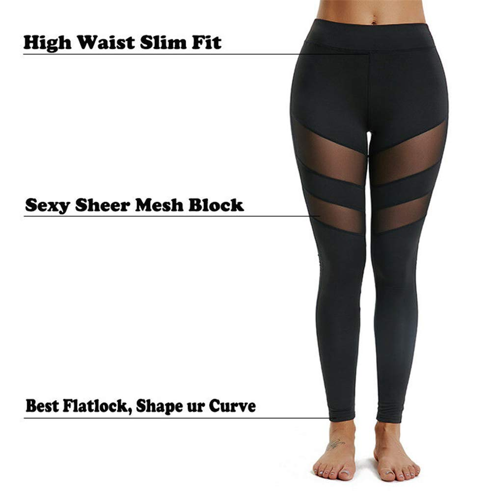 0319d3e19734bf CROSS1946 Sexy Women's High Waist Sexy Skinny Patchwork Thigh Mesh Yoga  Pants Leggings Soft Fitness Capris at Amazon Women's Clothing store: